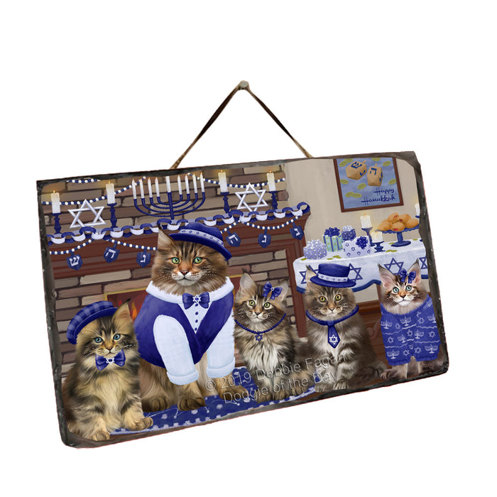 Happy Hanukkah Family and Happy Hanukkah Both Maine Coon Cats Wall Décor Hanging Photo Slate SLTH53391