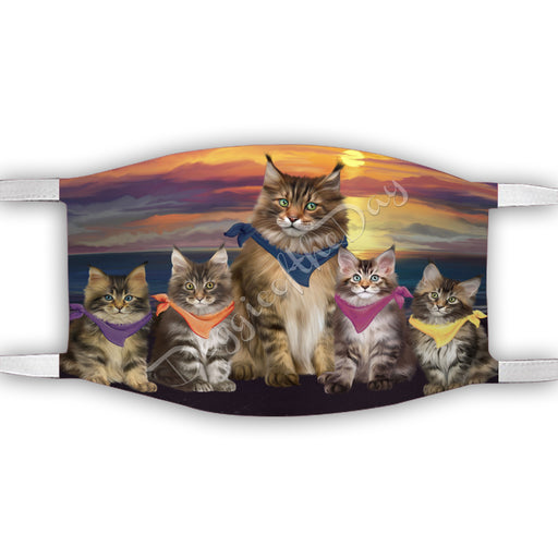 Family Sunset Maine Coon Cats Face Mask FM49217