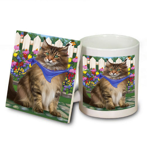 Spring Floral Maine Coon Cat Mug and Coaster Set MUC52207
