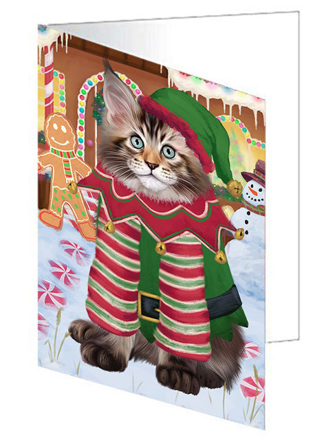 Christmas Gingerbread House Candyfest Maine Coon Cat Note Card NCD73853