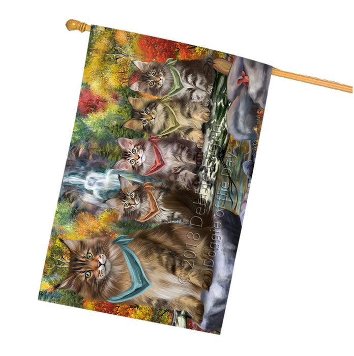 Scenic Waterfall Maine Coons Cat House Flag FLG52047