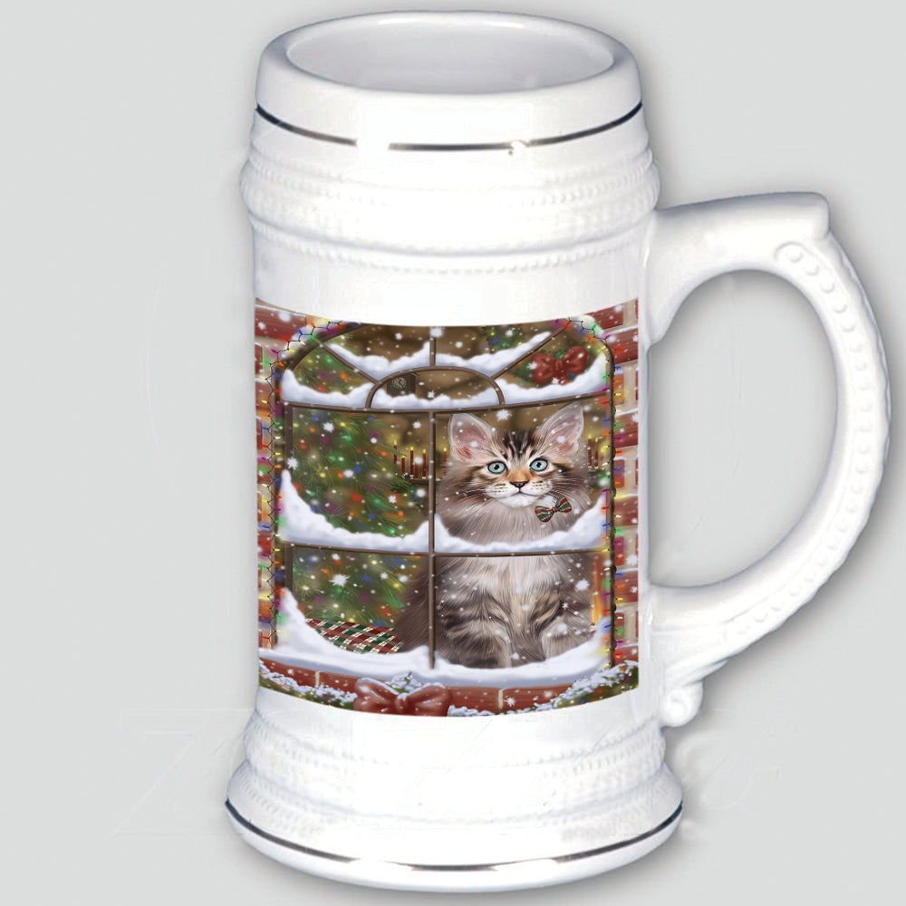 Please Come Home For Christmas Maine Coon Cat Sitting In Window Beer Stein BST55126