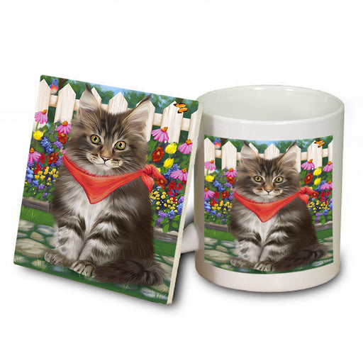Spring Floral Maine Coon Cat Mug and Coaster Set MUC52208
