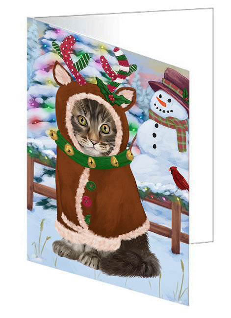 Christmas Gingerbread House Candyfest Maine Coon Cat Note Card NCD73856