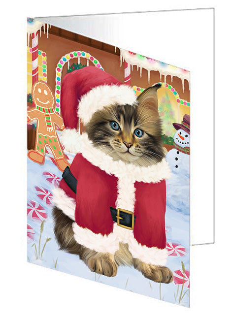 Christmas Gingerbread House Candyfest Maine Coon Cat Note Card NCD73859