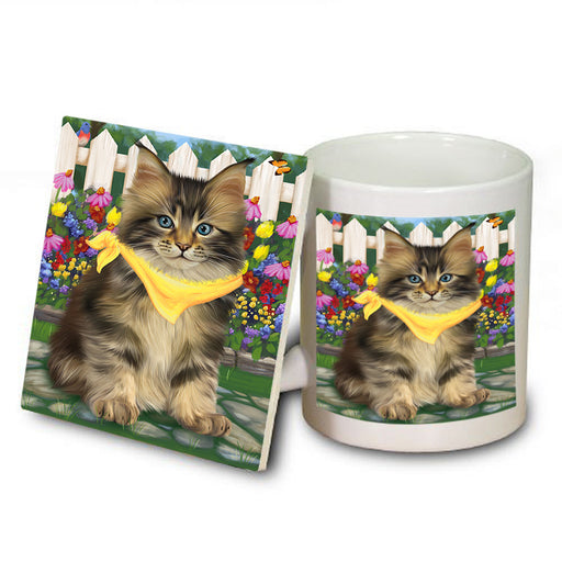 Spring Floral Maine Coon Cat Mug and Coaster Set MUC52209