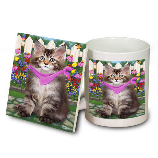 Spring Floral Maine Coon Cat Mug and Coaster Set MUC52210