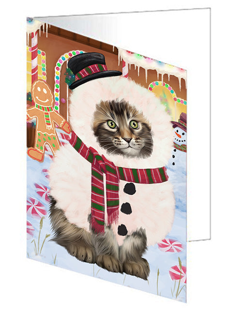 Christmas Gingerbread House Candyfest Maine Coon Cat Note Card NCD73862