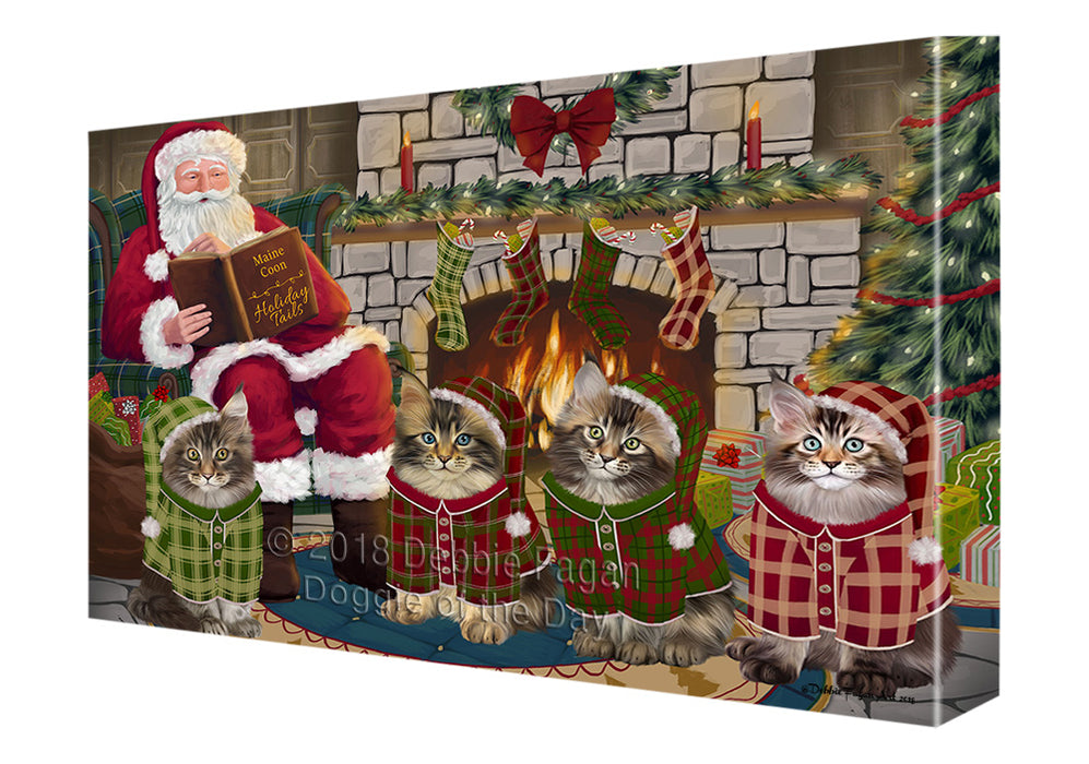 Christmas Cozy Holiday Tails Maine Coon Cats Canvas Print Wall Art Décor CVS116153