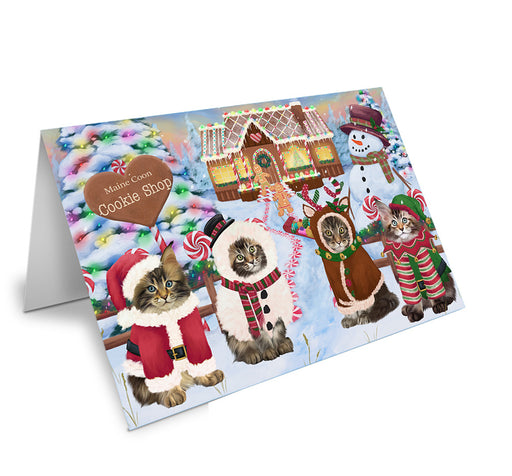 Holiday Gingerbread Cookie Shop Maine Coons Note Card NCD74021