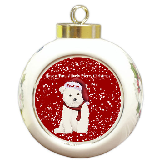 Custom Personalized Pawsitively Maltese Dog Merry Christmas Round Ball Ornament