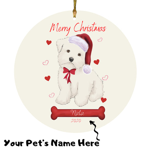 Personalized Merry Christmas  Maltese Dog Christmas Tree Round Flat Ornament RBPOR58978