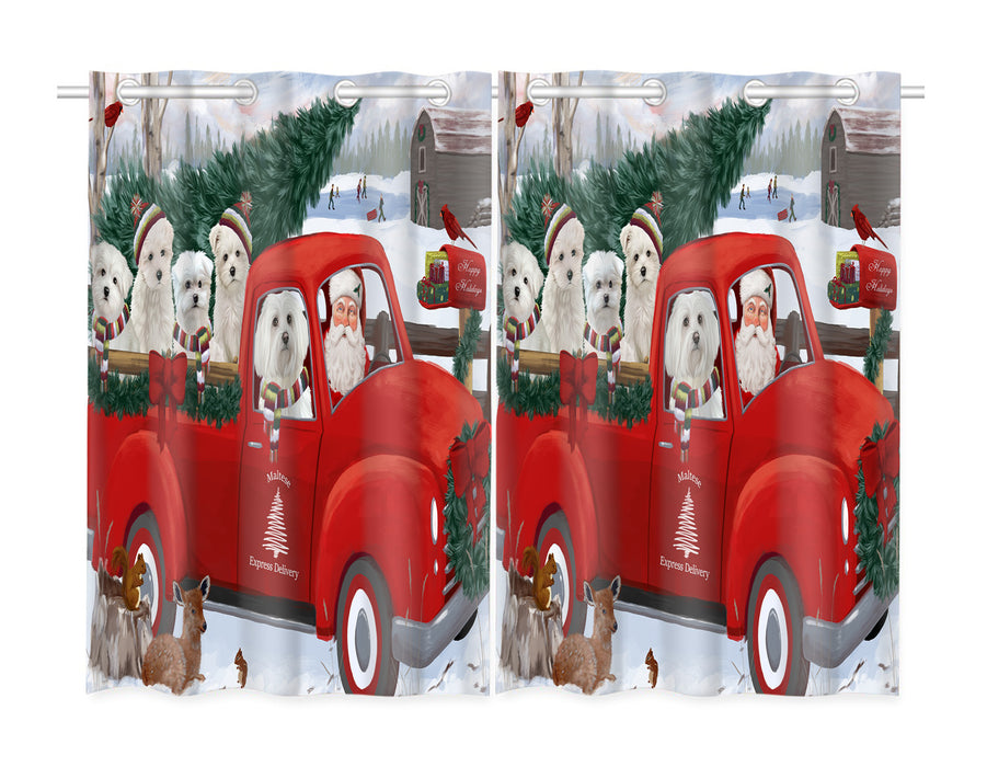 Christmas Santa Express Delivery Red Truck Maltese Dogs Window Curtain