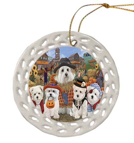Halloween 'Round Town Maltese Dogs Ceramic Doily Ornament DPOR57510