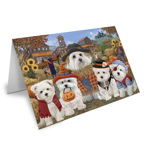 Halloween 'Round Town Maltese Dogs Note Card NCD77876