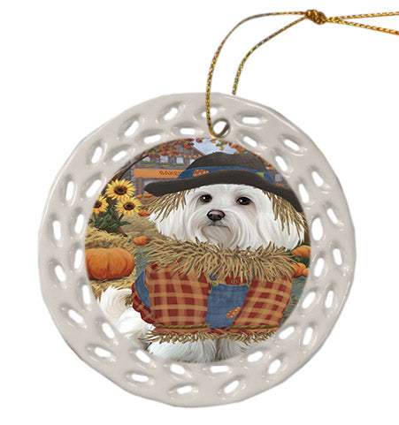 Fall Pumpkin Scarecrow Maltese Dogs Ceramic Doily Ornament DPOR57571