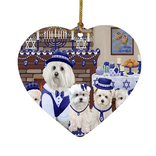 Happy Hanukkah Family Maltese Dogs Heart Christmas Ornament HPOR57632