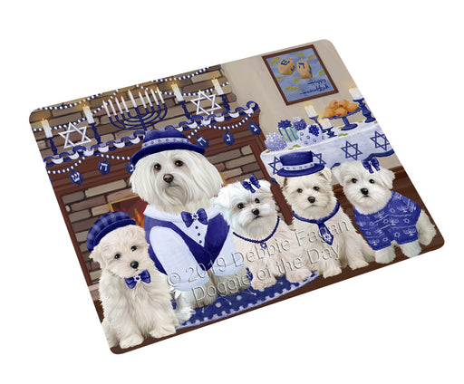 Happy Hanukkah Family and Happy Hanukkah Both Maltese Dogs Large Refrigerator / Dishwasher Magnet RMAG105558