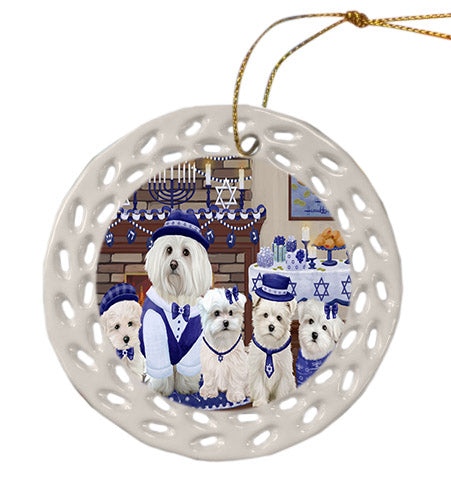 Happy Hanukkah Family Maltese Dogs Ceramic Doily Ornament DPOR57632