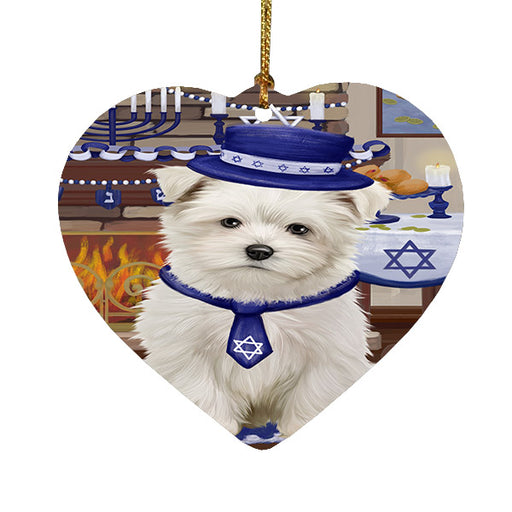 Happy Hanukkah Maltese Dog Heart Christmas Ornament HPOR57688