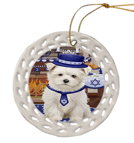 Happy Hanukkah Maltese Dog Ceramic Doily Ornament DPOR57688
