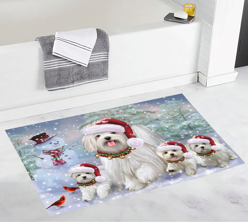 Christmas Running Fammily Maltese Dogs Bath Mat