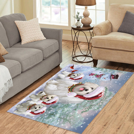 Christmas Running Fammily Maltese Dogs Area Rug