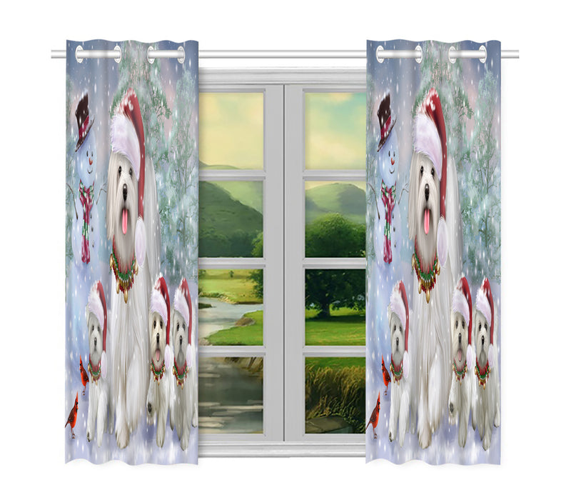 Christmas Running Fammily Maltese Dogs Window Curtain