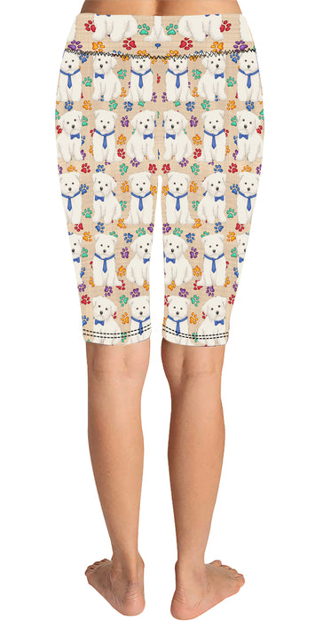 Rainbow Paw Print Maltese Dogs Blue Knee Length Leggings