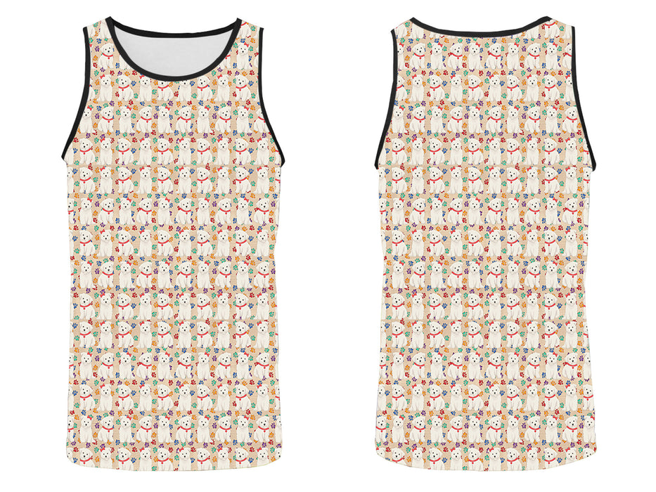 Rainbow Paw Print Maltese Dogs Red All Over Print   Men's Tank Top