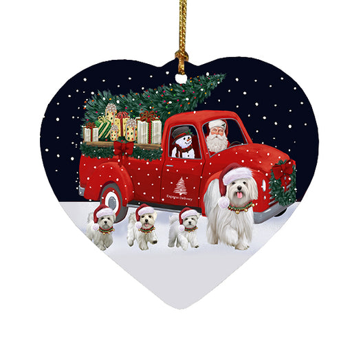 Christmas Express Delivery Red Truck Running Maltese Dogs Heart Christmas Ornament RFPOR58100