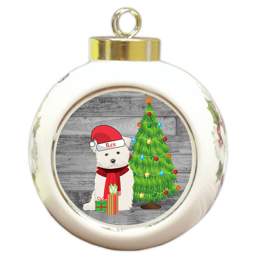 Custom Personalized Maltese Dog With Tree and Presents Christmas Round Ball Ornament