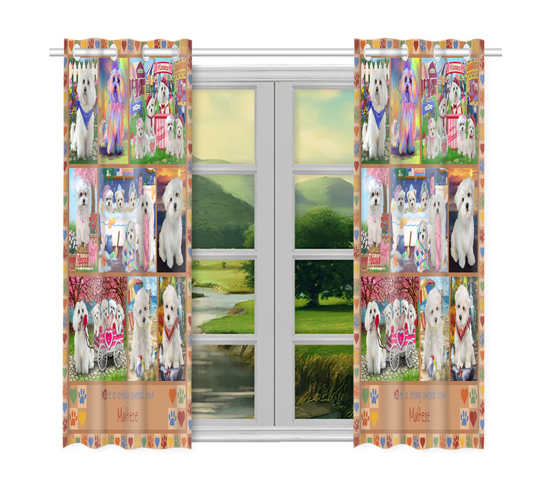 Love is Being Owned Maltese Dog Beige Window Curtain