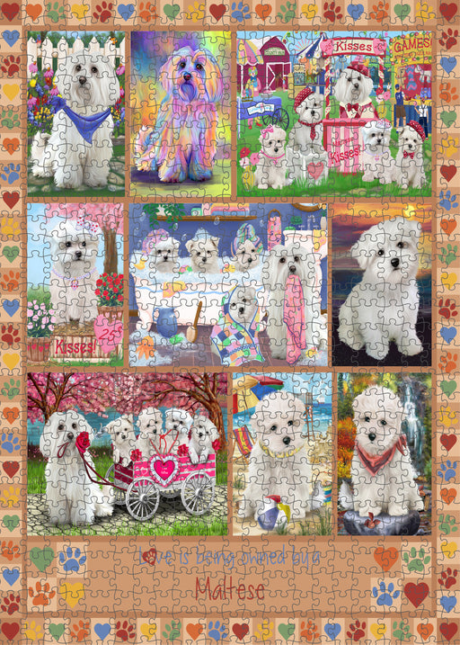 Love is Being Owned Maltese Dog Beige Puzzle with Photo Tin PUZL98516