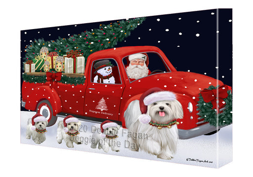 Christmas Express Delivery Red Truck Running Maltese Dogs Canvas Print Wall Art Décor CVS146168