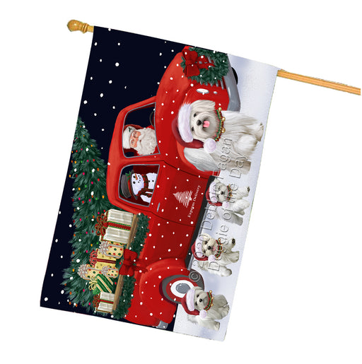 Christmas Express Delivery Red Truck Running Maltese Dogs House Flag FLG66530