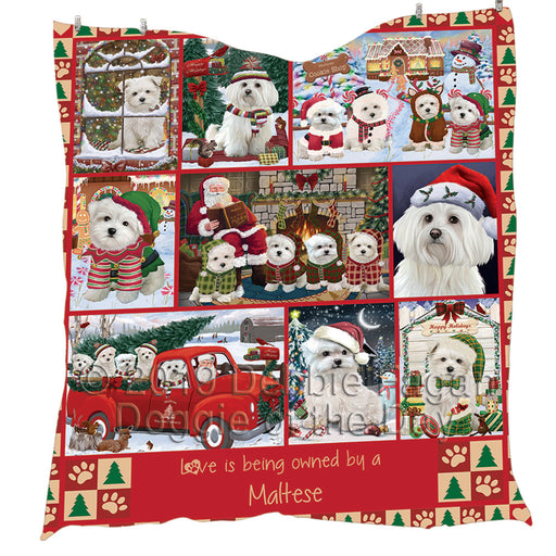 Love is Being Owned Christmas Maltese Dogs Quilt