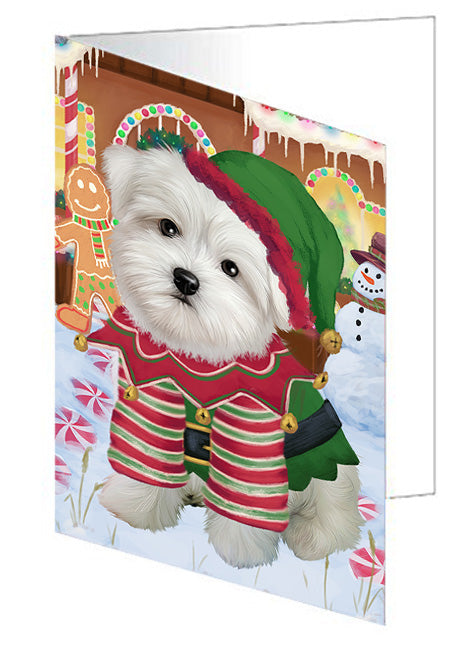 Christmas Gingerbread House Candyfest Maltese Dog Note Card NCD73865