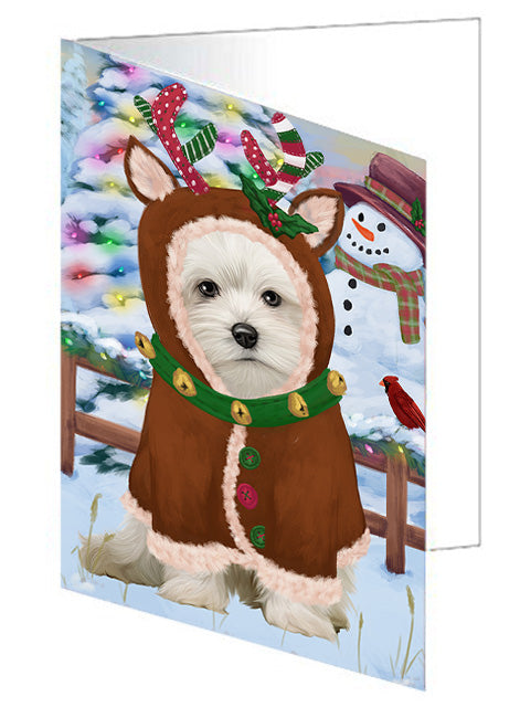 Christmas Gingerbread House Candyfest Maltese Dog Note Card NCD73868