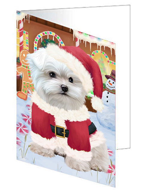 Christmas Gingerbread House Candyfest Maltese Dog Note Card NCD73871