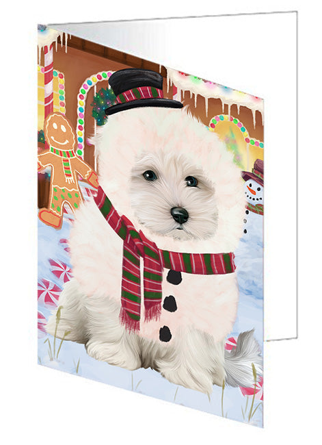 Christmas Gingerbread House Candyfest Maltese Dog Note Card NCD73874