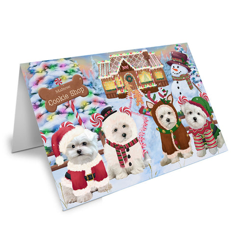 Holiday Gingerbread Cookie Shop Malteses Dog Note Card NCD74024