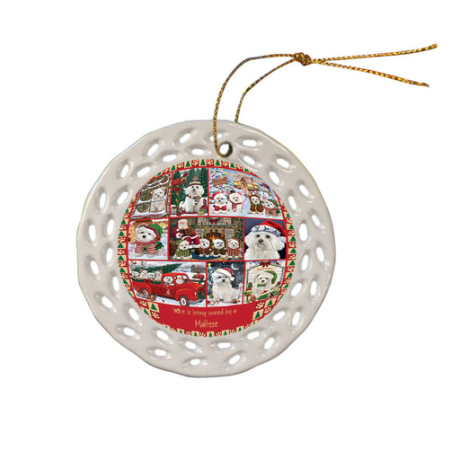 Love is Being Owned Christmas Maltese Dogs Ceramic Doily Ornament DPOR57865