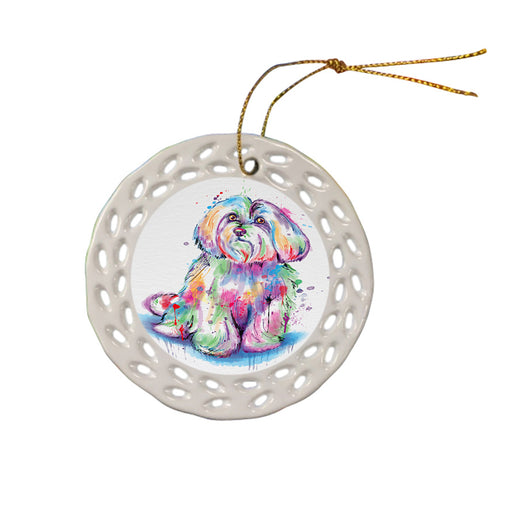 Watercolor Maltese Dog Ceramic Doily Ornament DPOR57443