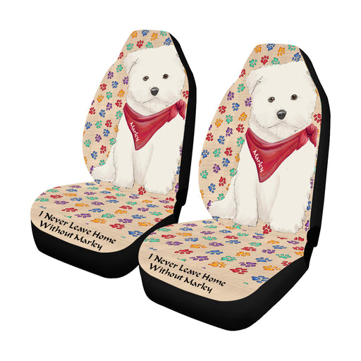 Personalized I Never Leave Home Paw Print Maltese Dogs Pet Front Car Seat Cover (Set of 2)