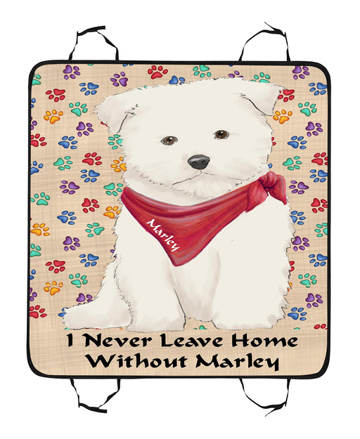 Personalized I Never Leave Home Paw Print Maltese Dogs Pet Back Car Seat Cover