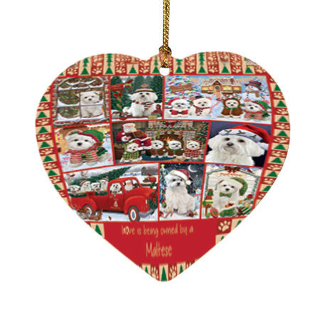 Love is Being Owned Christmas Maltese Dogs Heart Christmas Ornament HPOR57865