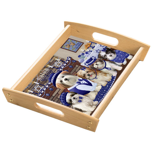 Happy Hanukkah Family Malti Tzu Dogs Wood Serving Tray with Handles Natural TRA49861