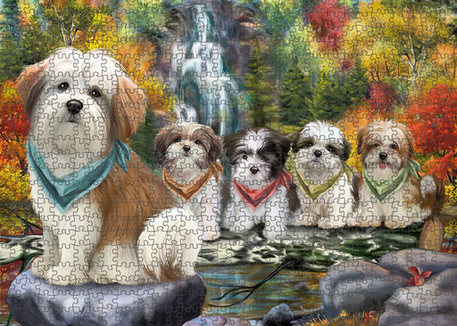 Scenic Waterfall Malti Tzus Dog Puzzle with Photo Tin PUZL54393