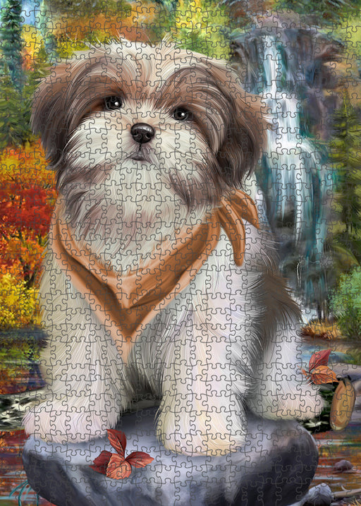 Scenic Waterfall Malti Tzu Dog Puzzle with Photo Tin PUZL54396